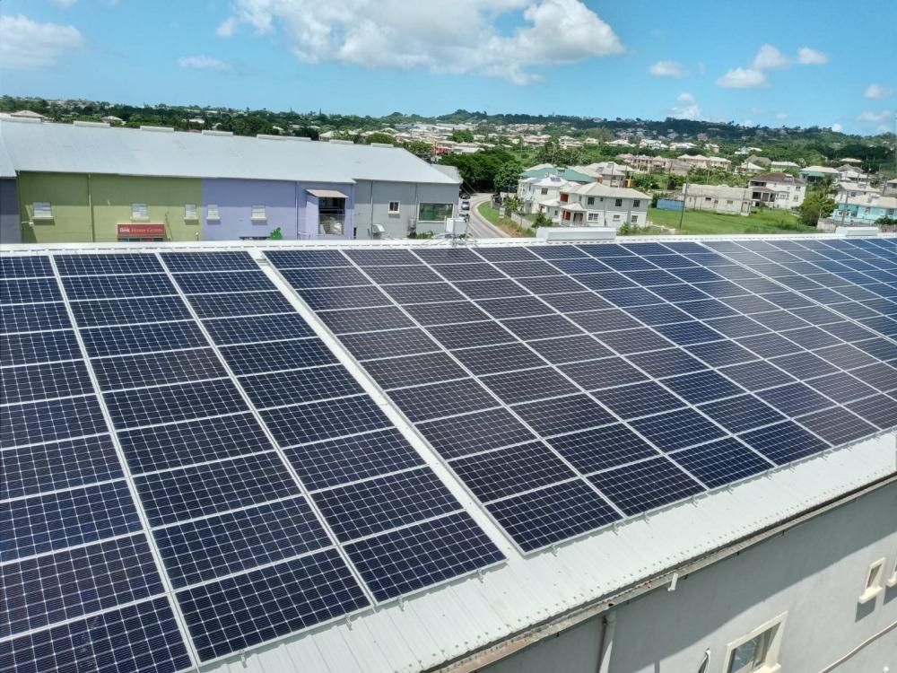 Commercial solar panel installation at Dwellings, Cane Garden, St. Thomas, Barbados