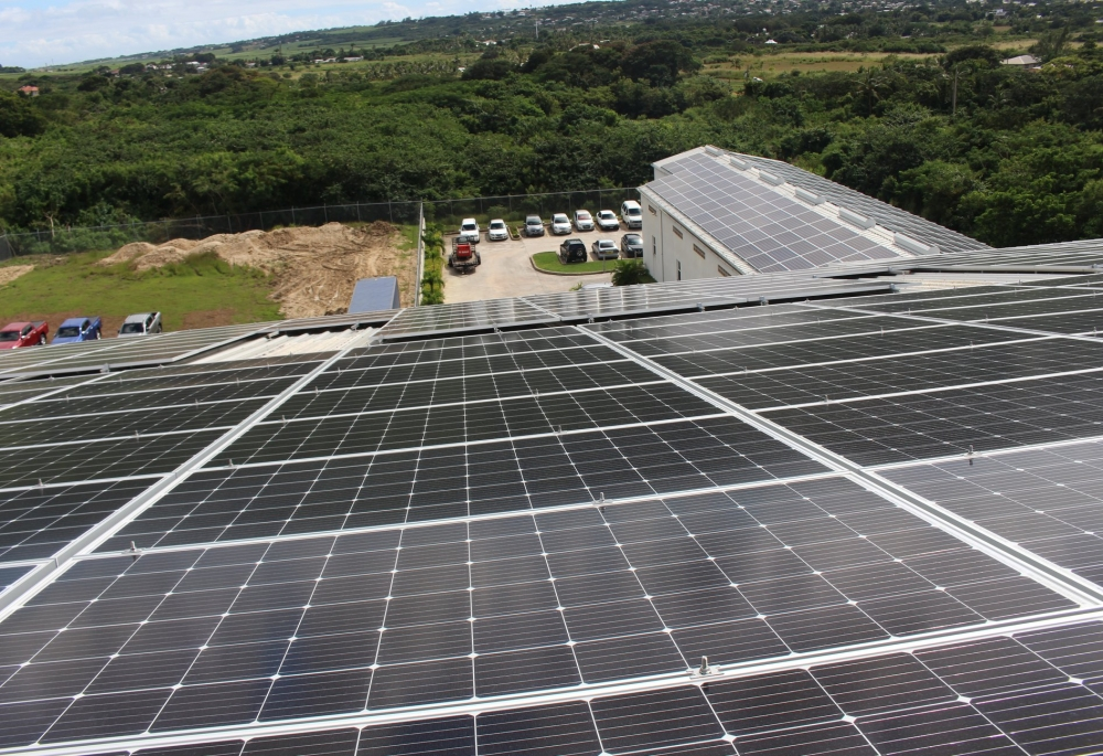 Commercial solar panel installation at Western Wholesale Inc., St. George, Barbados