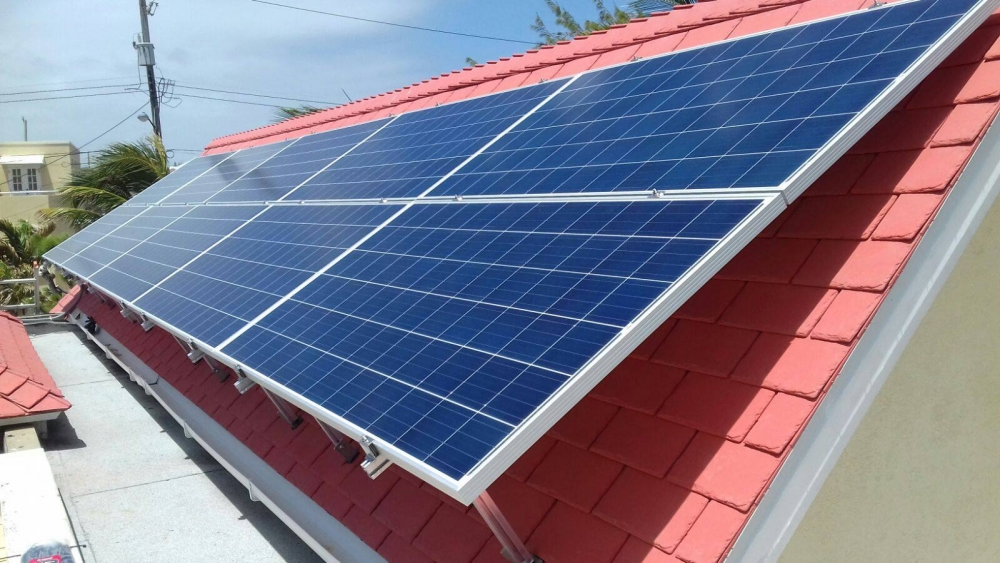 Residential solar panel installation with an in Long Bay Development, St. Philip, Barbados
